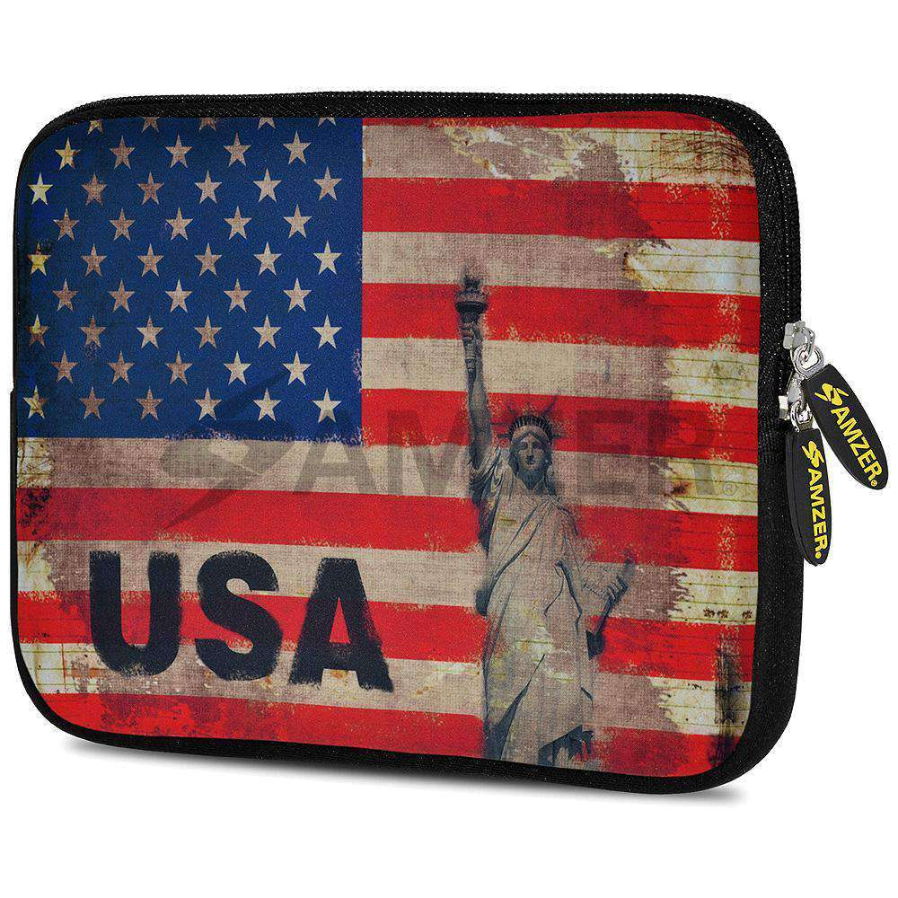 AMZER 7.75 Inch Neoprene Zipper Sleeve Pouch Tablet Bag - Rustic Liberty US Flag - fommystore