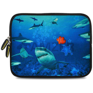 AMZER 7.75 Inch Neoprene Zipper Sleeve Pouch Tablet Bag - Sharks Around - fommystore