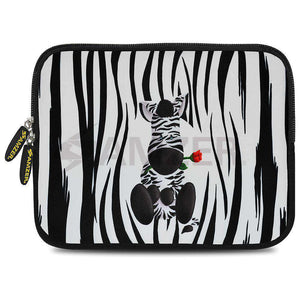 AMZER 7.75 Inch Neoprene Zipper Sleeve Pouch Tablet Bag - Cute Zebra Rose - fommystore