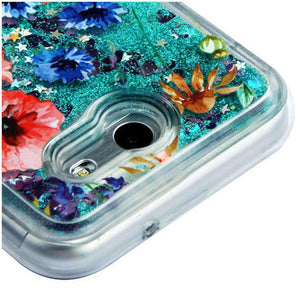 AMZER Quicksand Glitter Hybrid Protector Cover for Samsung Galaxy Amp Prime 2 SM-J120A - Flowers & Green Sparkle - fommystore