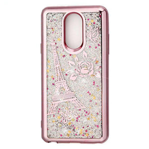 AMZER Quicksand Glitter Hybrid Protector Cover for LG Stylo 4 - Rose Gold Eiffel Tower - fommystore