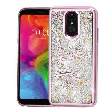 AMZER® Quicksand Glitter Hybrid Protector Cover - Rose Gold Eiffel Tower for LG Q7 - fommystore