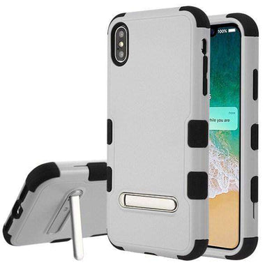 AMZER TUFFEN Hybrid Protector Cover With Magnetic Metal Stand for iPhone Xs Max - Gray/Black - fommystore
