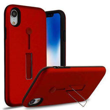 Load image into Gallery viewer, AMZER® Hybrid Protector Cover With Finger Silicone Strap & Metal Stand - Red/Black for iPhone Xr - fommystore