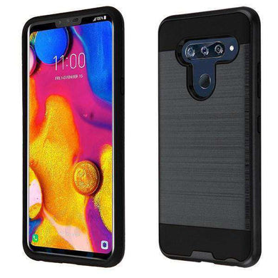 AMZER® Brushed Hybrid Protector Cover - Black/Black for LG V40 ThinQ - fommystore