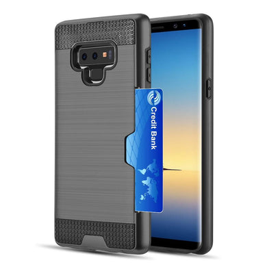 AMZER® Hybrid Go Case with Credit Card Holder Slot - Black/ Black for Samsung Galaxy Note9