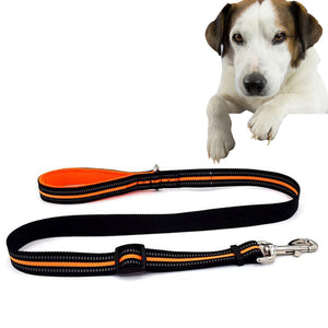 Pet Dogs Nylon Night Reflective Breathable Handheld Traction Lead Leash, Size: M, Adjustable Range : 2.5 x (100-140cm) - fommystore