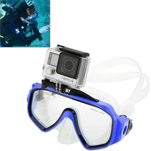 AMZER Water Sports Diving Equipment Diving Mask Swimming Glasses with Mount for GoProNEW HERO /HERO6 /5 /5 Session /4 Session /4 /3+ /3 /2 /1, Xiaoyi and Other Action Cameras - Blue