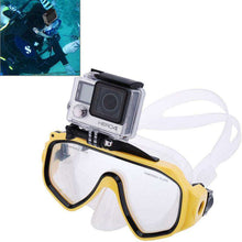 Load image into Gallery viewer, AMZER Water Sports Diving Equipment Diving Mask Swimming Glasses with Mount for GoPro NEW HERO /HERO6 /5 /5 Session /4 Session /4 /3+ /3 /2 /1, Xiaoyi and Other Action Cameras - Blue