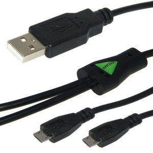 AMZER USB to Dual Micro USB Y Splitter Twin Charging Handy Cable - Black
