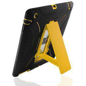 Protective Case with Stand - Black & Yellow for iPad 2 - fommystore