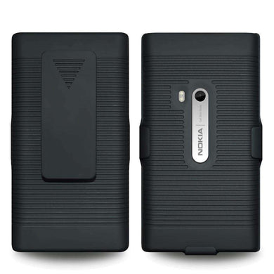 AMZER Shellster Hard Case with Belt Clip Holster for Nokia N9 - Black - fommystore