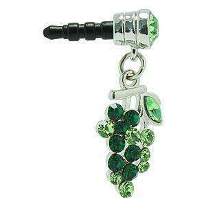 Fruit 3.5mm Headphone Jack Crystal Charm - Solid Green - fommystore