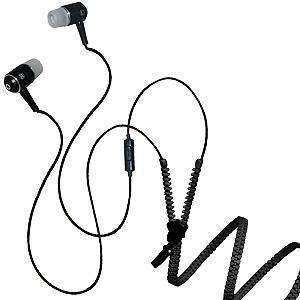 3.5mm Soft Zipper Stereo Y-Buds Handsfree Headset - Black - fommystore