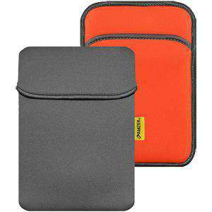 Amzer® 8 inch Reversible Neoprene Vertical Sleeve with Pocket - Slate Grey/ Burnt Orange - fommystore