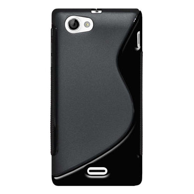 AMZER Soft TPU Hybrid Case for Sony Xperia J ST26i - Black - fommystore