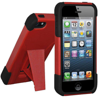 AMZER Double Layer Hybrid Kickstand Case for for iPhone 5 - fommystore