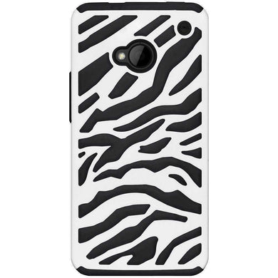 AMZER Zebra Hybrid Case - White PC + Black Silicone for HTC One M7