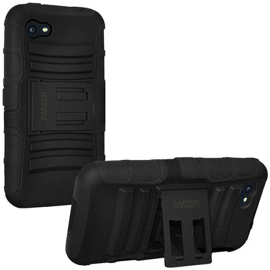AMZER® Hybrid Kickstand Case - Black/ Black for HTC First - fommystore