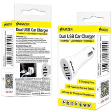 Load image into Gallery viewer, AMZER Dual USB 2 Port Handy Car Charger - White - fommystore