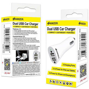 AMZER Dual USB 2 Port Handy Car Charger - White - fommystore