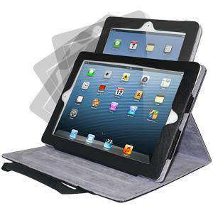 360º Rotating Folio Stand Case with Handles - Black for Apple iPad 4 with Retina Display