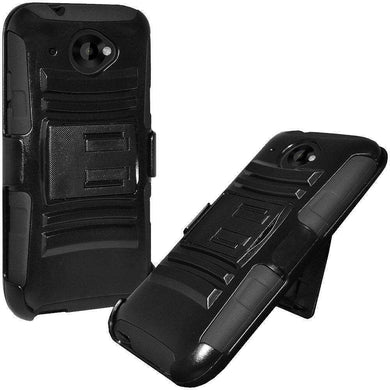 Hybrid Double Layer Armor Case with Holster for HTC Desire 601 - Black/ Black - fommystore