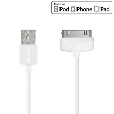 Amzer Apple MFi Certified 30-Pin to USB Sync & Charge Cable (3.2 Ft/1 M) - White - fommystore