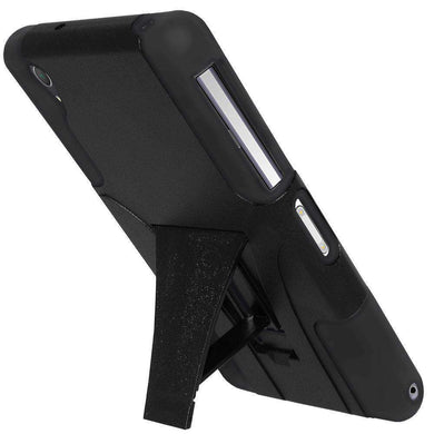 AMZER Double Layer Hybrid Kickstand Case for Sony Xperia Z2 - Black/ Black - fommystore