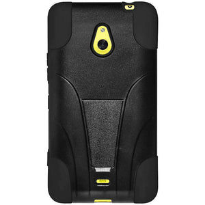AMZER Double Layer Hybrid Kickstand Case for Nokia Lumia 1320 - Black/ Black - fommystore