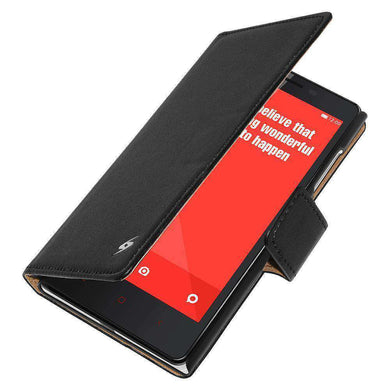 AMZER Flip Leather Case for Xiaomi Redmi Note - Black - fommystore