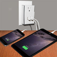 Load image into Gallery viewer, Amzer Dual USB PLATE eXtender Power Wall Charger Adapter - White - fommystore