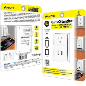 Amzer Dual USB PLATE eXtender Power Wall Charger Adapter - White - fommystore
