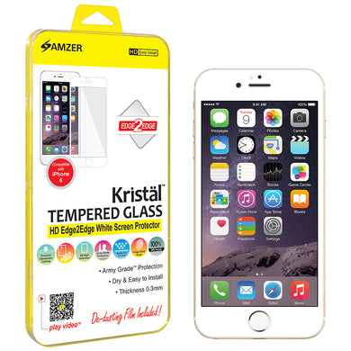 Amzer® Kristal™ Tempered Glass HD Edge2Edge Screen Protector - White for iPhone 6/ 6s/ 7 - fommystore