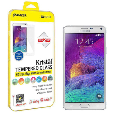 AMZER Kristal HD Edge2Edge Tempered Glass for Samsung GALAXY Note 4 - White - fommystore