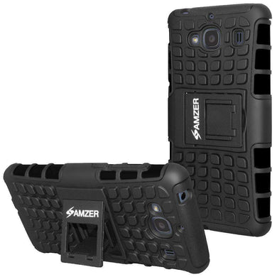 AMZER Shockproof Warrior Hybrid Case for Xiaomi Redmi 2 - Black/Black - fommystore