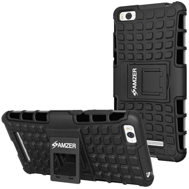 AMZER Shockproof Warrior Hybrid Case for Xiaomi Mi 4i - Black/Black - fommystore