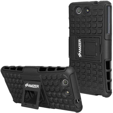 AMZER Hybrid Warrior Kickstand Case for Sony Xperia Z3 Compact - Black/Black - fommystore
