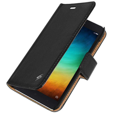 AMZER Flip Leather Case for Xiaomi Mi 4i - Black - fommystore