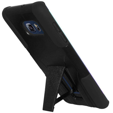 AMZER Double Layer Hybrid Kickstand Case for Samsung Galaxy S6 edge Plus - Black - fommystore