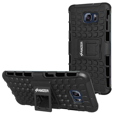 AMZER Warrior Hybrid Case for Samsung Galaxy S6 edge Plus - Black/Black - fommystore