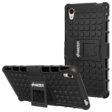 AMZER Shockproof Warrior Hybrid Case for Sony Xperia M4 Aqua - Black/Black - fommystore