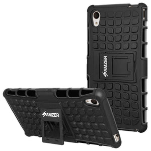 AMZER Shockproof Warrior Hybrid Case for Sony Xperia M4 Aqua - Black/Black