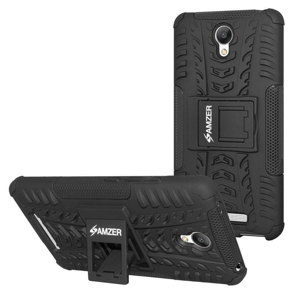 AMZER Shockproof Warrior Hybrid Case for Xiaomi Redmi Note 2 - Black/Black - fommystore