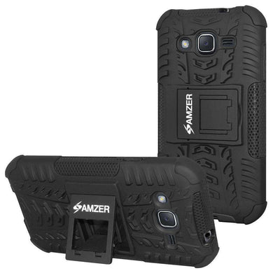 AMZER Shockproof Warrior Hybrid Case for Samsung Galaxy J2 2017 - Black/Black - fommystore