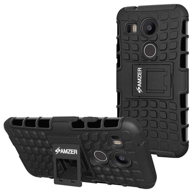 AMZER Shockproof Warrior Hybrid Case for Google Nexus 5X - Black/Black - fommystore