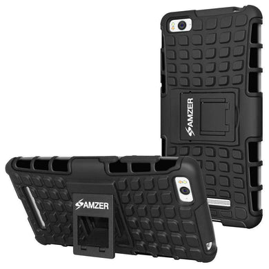 AMZER Shockproof Warrior Hybrid Case for Xiaomi Mi 4c - Black/Black - fommystore
