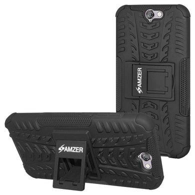 AMZER Shockproof Warrior Hybrid Case for HTC One A9 - Black/Black - fommystore