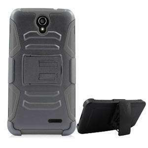 Hybrid Double Layer Armor Case with Holster for ZTE Avid Plus - Black/ Black - fommystore