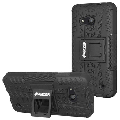 AMZER Shockproof Warrior Hybrid Case for Microsoft Lumia 550 - Black/Black - fommystore